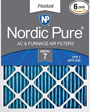 Nordic Pure 15x20x1 MERV 8 Pure Carbon Pleated Odor Reduction AC Furnace Air Filters 2 Pack