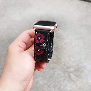 Applique Glamour Style Apple Watch Band 38mm 40mm 42mm 44mm, Series 5,Series 4 Series 3 Series 2 Series 1,Hand-Stitched Handmade Apple Watch Leather