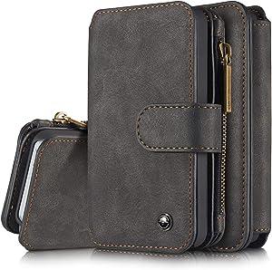 SZCINSEN Wallet Case for iPhone 5/5S/5SE 2 in 1 Leather Zipper Detachable Magnetic 14 Card Slots,Clutch Bag Leather Wallet Holster (Color : Black)