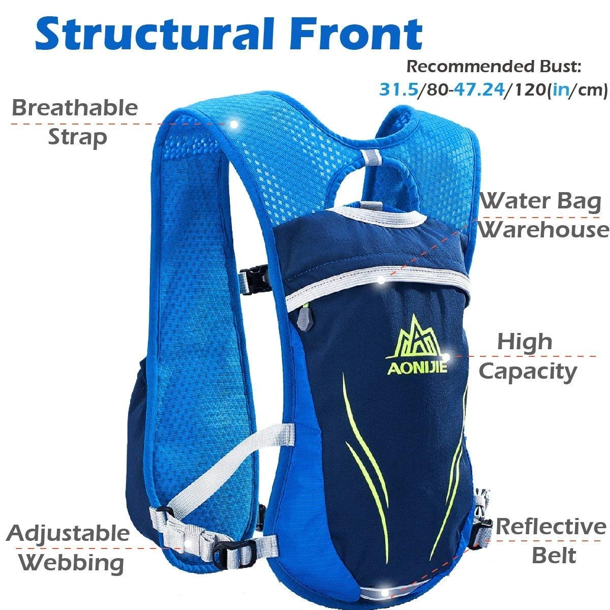 Azarxis Running Hydration Vest Backpack Pack Ultra Trail Race Chaleco Hidratacion 5.5L Water Container Men Women Marathon Hiking Camping Cycling