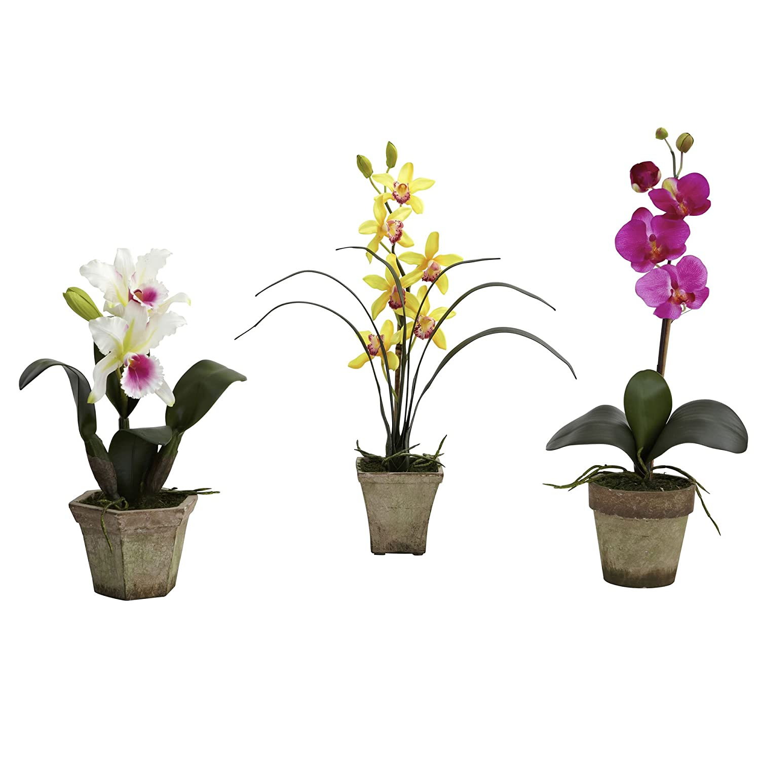 Nearly Natural 4985-A1-S3 Potted Orchid Mix, White/Yellow/Purple, Set of 3