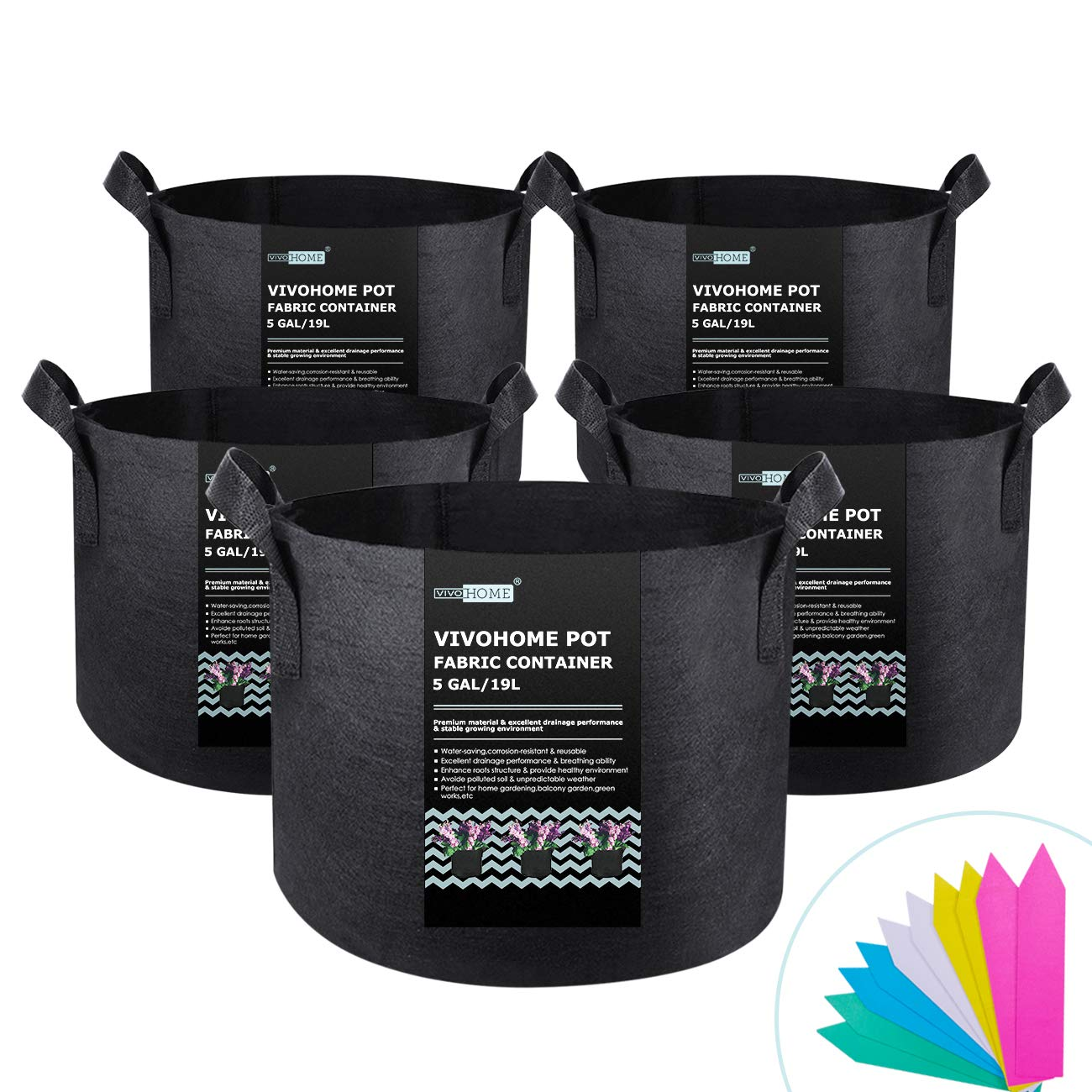 VIVOHOME 5-Pack Thickened Non Woven 5 Gallon Grow Bag Portable Aeration Fabric Garden Vegetable Planting Pots with 10 PCS Plant Lables