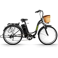 """NAKTO Electric Bicycle Sporting Shimano 6 Speed Gear EBike with Removable 36V10A Lithium Battery,Charger and Lock(20""""/26"""")"""