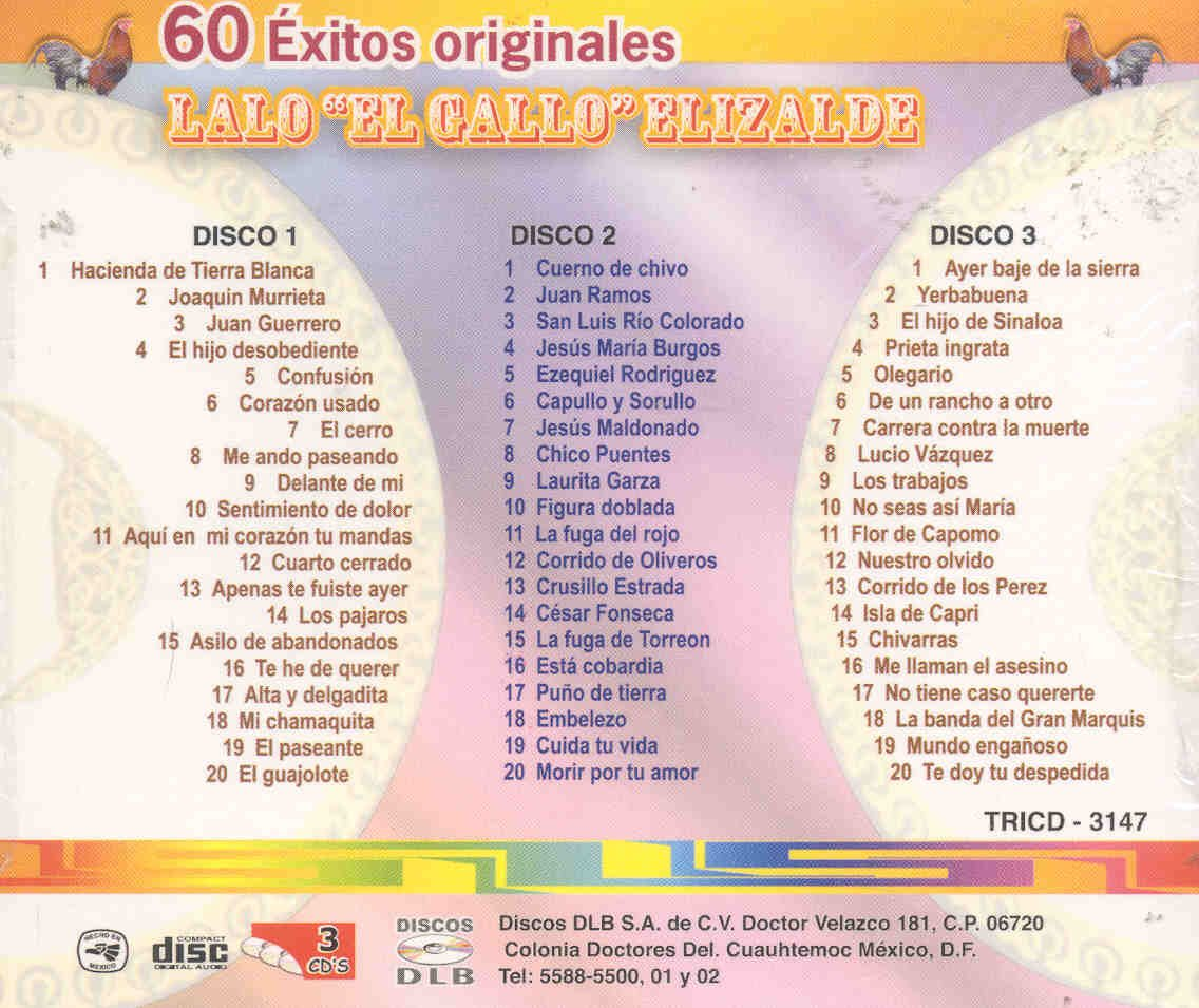 LALO EL GALLO ELIZALDE - 60 EXITOS DE LALO EL GALLO ELIZALDE - Amazon.com Music