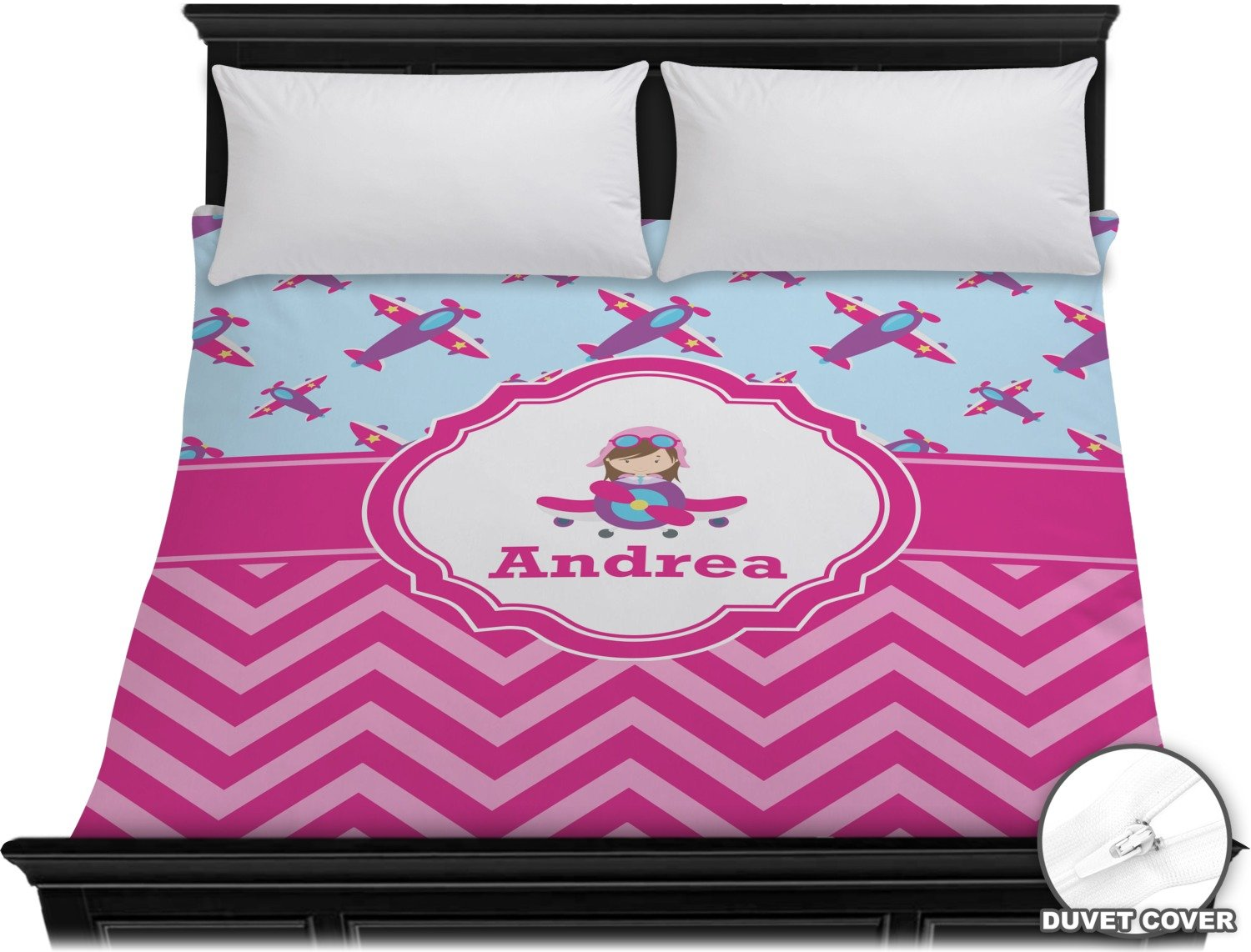 Airplane Theme - for Girls Duvet Cover - King (Personalized)