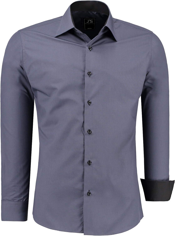 JS FASHION - Camisa Casual - Clásico - para Hombre: Amazon.es: Ropa y accesorios