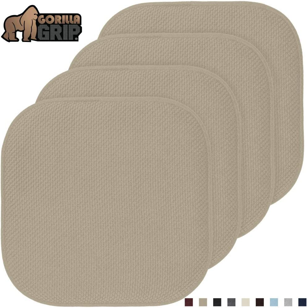 Gorilla Grip Original Premium Memory Foam Chair Cushions, 4 Pack, 16x16 Inch, Thick Comfortable Seat Cushion Pad, Large Size, Slip Resistant, Durable Soft Mat Pads for Office, Kitchen Chairs, Beige