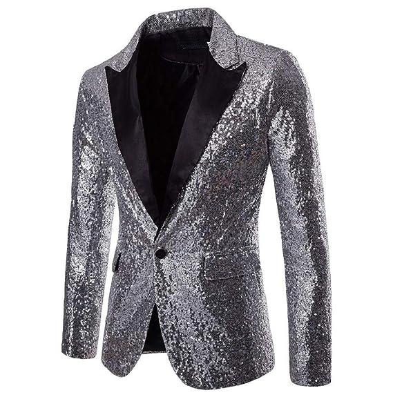 LONUPAZZ Manteau Homme Veste Blazer Vestons Slim Fit Un Bouton Costume Jacket  Blouson Casual Haut De 1871f58253b