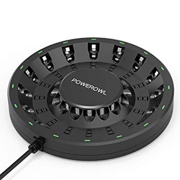 POWEROWL Pilas Recargables Cargador de Ni-MH AA y AAA, Cargador de Pilas con Puerto USB Indicador LED (Cargador de 16 Ranuras, Sin Pilas)