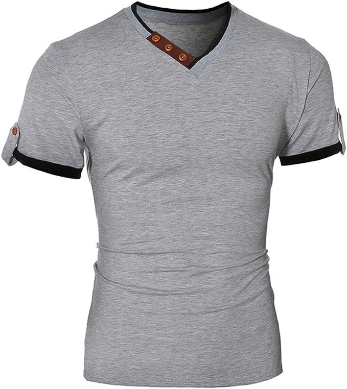 Herren T-Shirt V-Ausschnit Fitness Gym Tshirt Kurzarm Shirt Basic  KurzarmShirt