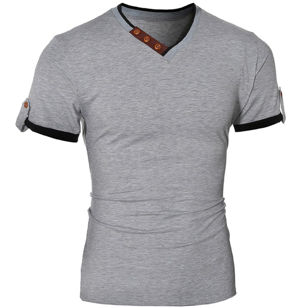 Goddessvan Mens Shirt, Men's Casual Slim Patchwork Short Sleeve Button V-Neck T Shirt Top Blouse Men's Casual Slim Patchwork Short Sleeve Button V-Neck T Shirt Top Blouse
