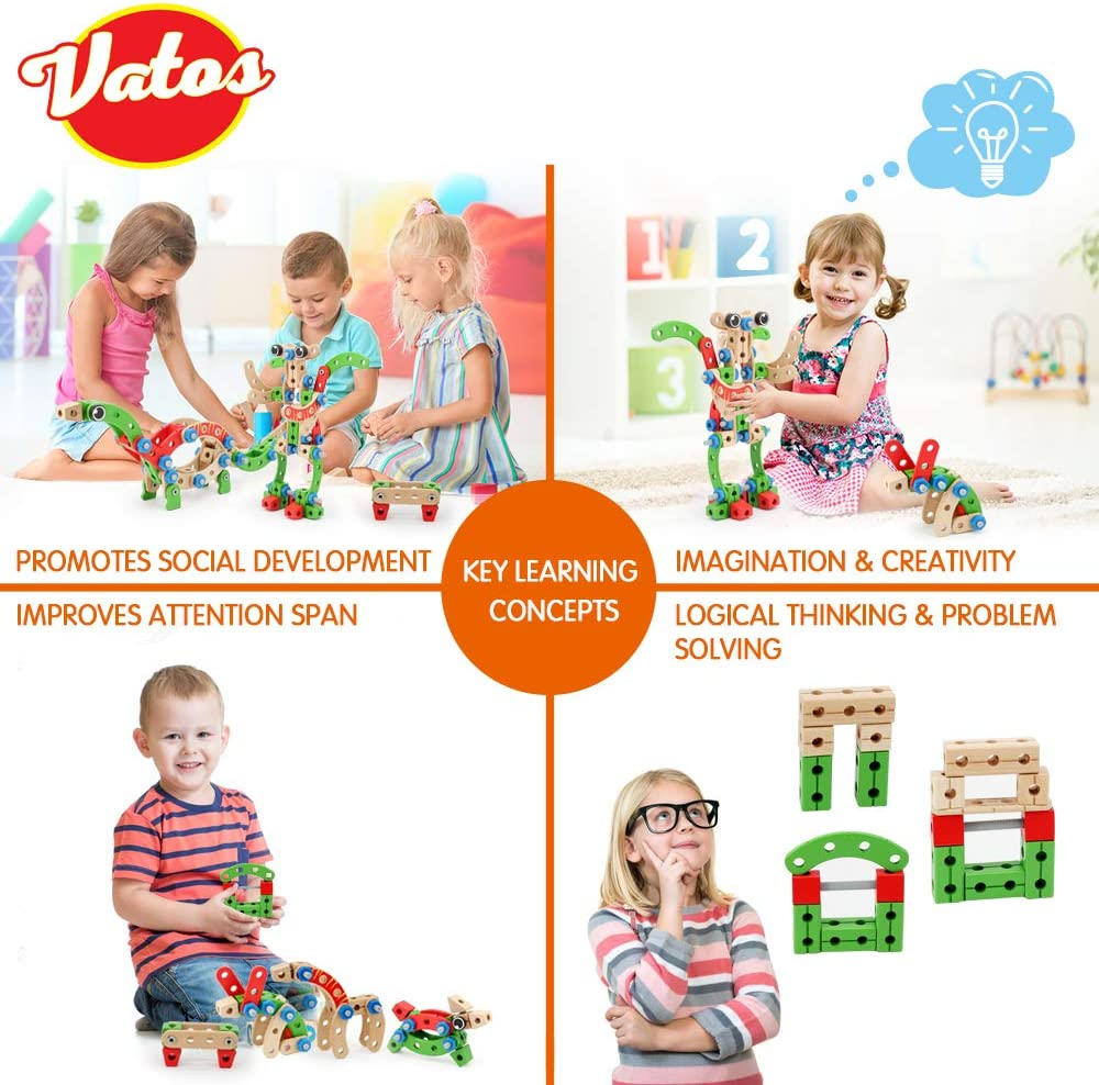 VATOS STEM Toys, Wooden Building Toys for 3 Year Old Boys ...