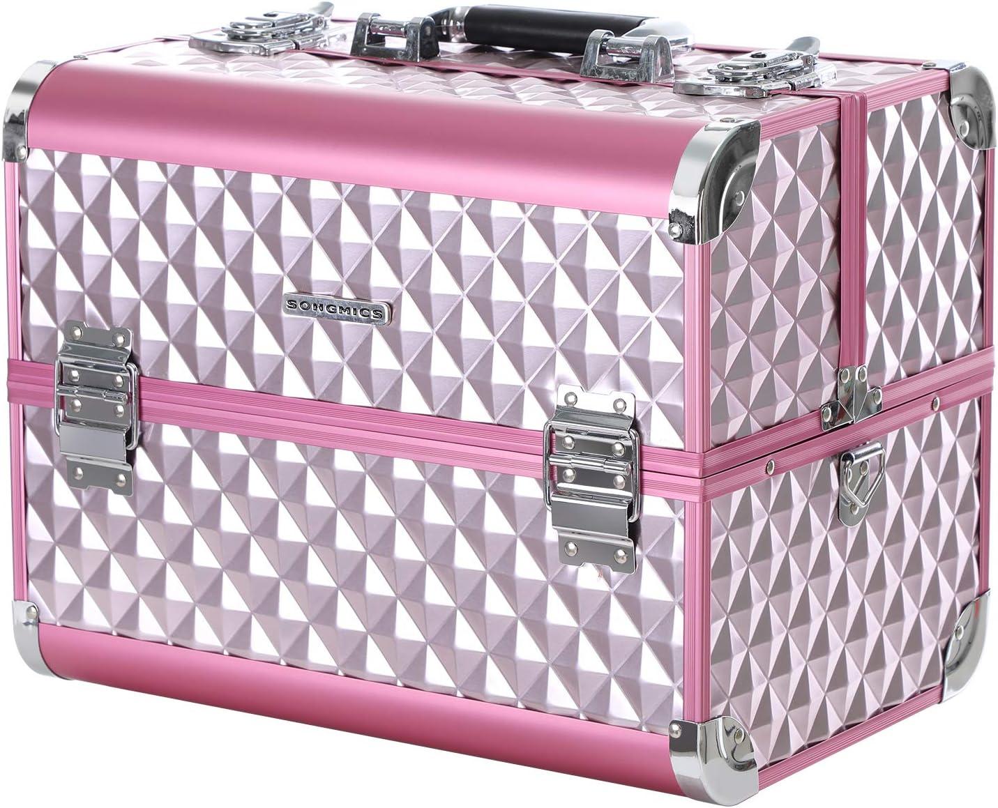 SONGMICS Maletín para Maquillaje de Uso Profesional, Caja de Belleza con 4 Bandejas Extensibles, Uso de Viaje, 36,5 x 24 x 24 cm JBC319P: Amazon.es: Belleza