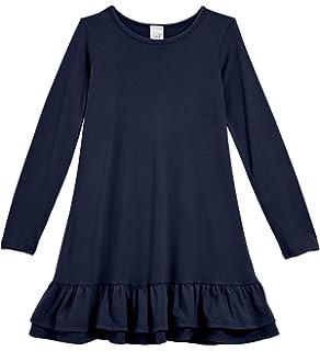 c7cdcd2333 City Threads Girls Cotton Long Sleeve A-Line Ruffle Hem Dress for School  Play