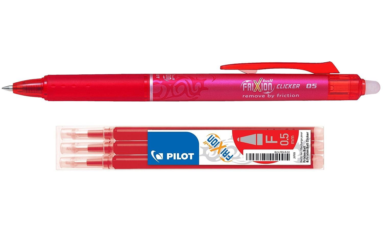 Schwarz Inklusive Stift und drei 5,0-mm-Minen. Pilot Frixion Einziehbarer 0,5 mm durch W/ärme abwischbarer Mehrzweckstift und Minen-Set