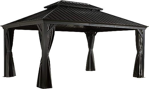Sojag Messina - Cenador de aluminio, 12 x 16, 363 x 483 cm (ancho x alto), cenador de verano para jardín con techo rígido: Amazon.es: Jardín