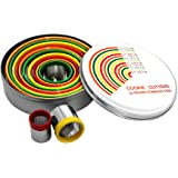ShengHai 12 Piece Round Cookie Cutter Set, Stainless Steel Dough Cutters - Measuring Guide, Color Coded Tops (Orange)