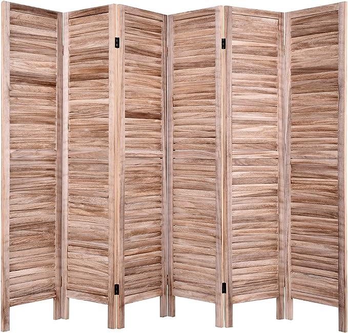 Giantex 6 Pantalla de Panel de Madera Divisor de Habitaciones, 5.6 pies de Altura partición Oriential Plegable Independiente deseas intimidad Separador de Habitaciones para el hogar (Brown): Amazon.es: Hogar