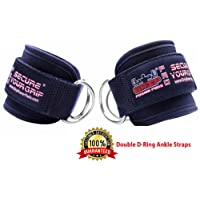 Best Ankle Straps for Cable Machines Double D-Ring Adjustable Neoprene Premium Cuffs to Enhance Legs, Abs & Glutes for Men & Women