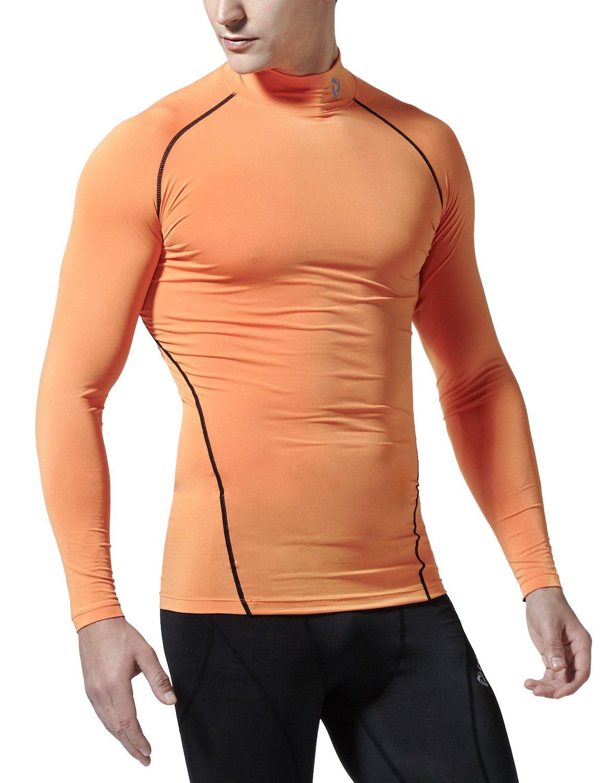 (テスラ)TESLA 長袖 ハイネック スポーツシャツ [UVカット吸汗速乾] コンプレッションウェア パワーストレッチ アンダーウェア T11 / MUT72 B01EV0DY2K XXXL|T11-ORKZ(オレンジ/ブラック) T11-ORKZ(オレンジ/ブラック) XXXL