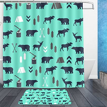 HOMESTORES Mint Grey Navy Blue Bear Moose Forest Arrow Pattern Shower Curtain Liner With Hooks And