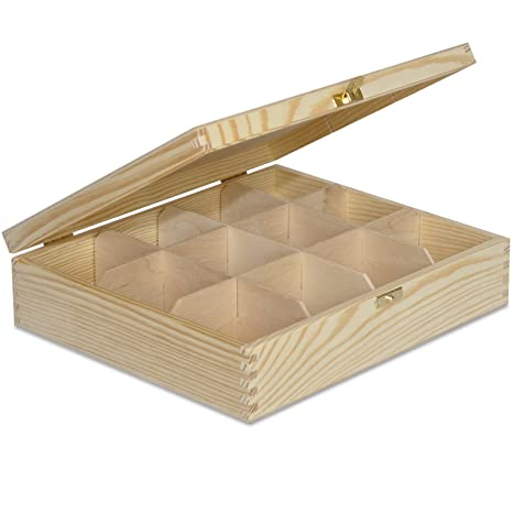 Grande Caja para Té Bolsita Madera | 12 Compartimentos | 29 x 25 x 7,