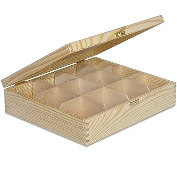 Large Wooden Tea Box Storage 12 Compartments 29 X 25 X 75 Cm Plain Wood Bag Caddy Chest Perfect For Decoupage Decoration