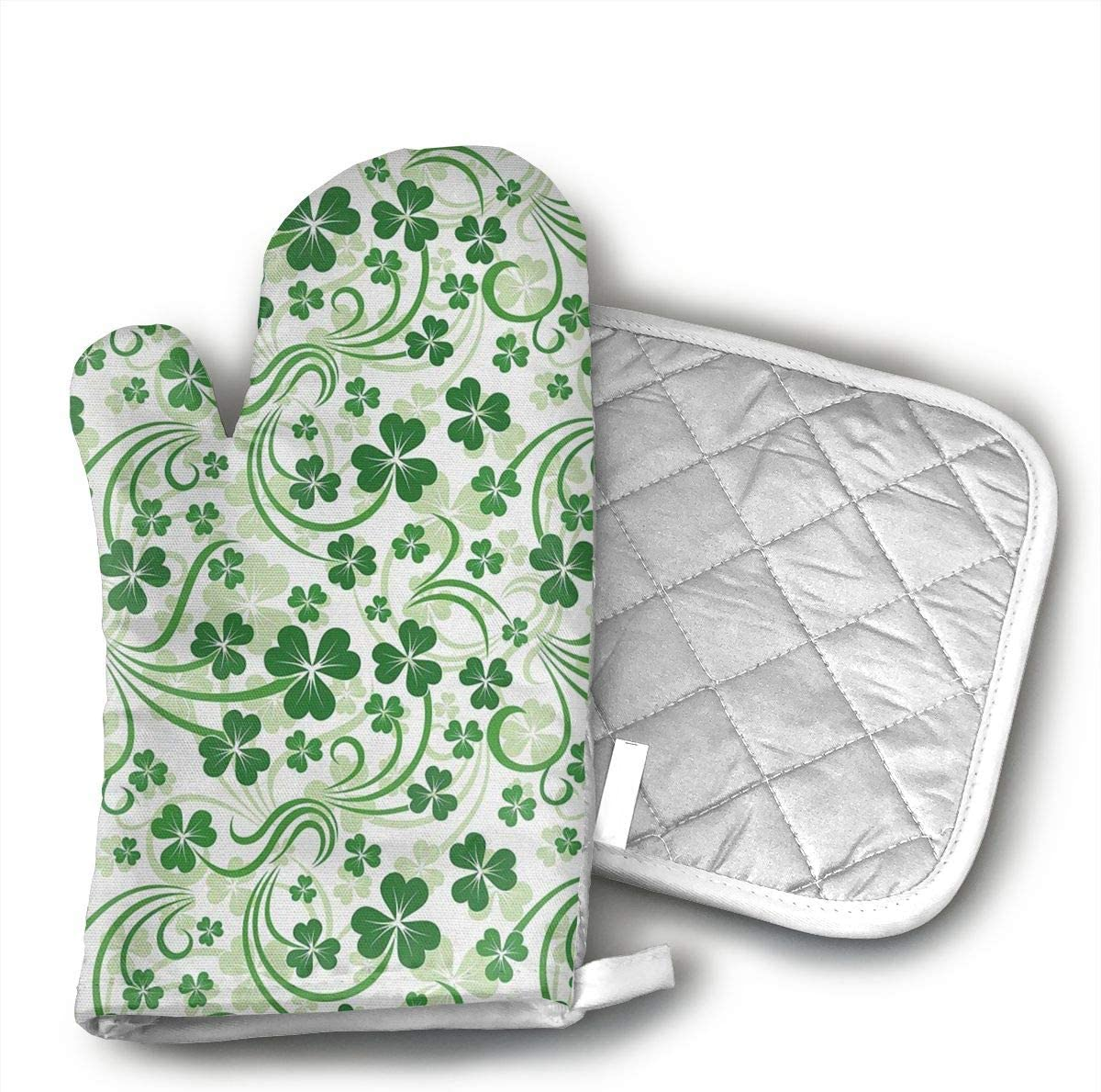 EROJfj Lucky Shamrock Irish Design Oven Mitts and Potholders BBQ Gloves-Oven Mitts and Pot Holders Non-Slip Cooking Gloves for Cooking Baking Grilling