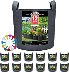 JERIA 12-Pack 2 Gallon, Vegetable/Flower/Plant Grow Bags, Aeration Fabric Pots with Handles (Black), Come with 12 Pcs Plant Labels