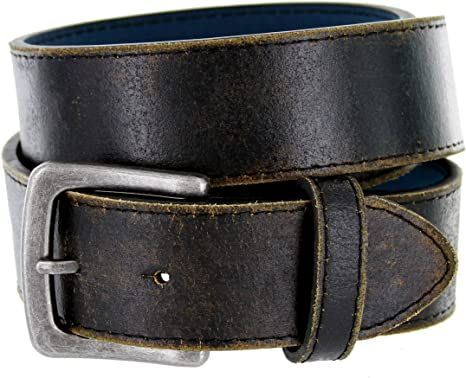 New Simple Western Casual Jean Vintage Leather Belt 1-1//2 Black Color