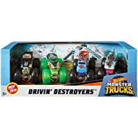 Hot Wheels Monster Trucks 1:64 Scale 4-Truck Pack, Styles May Vary