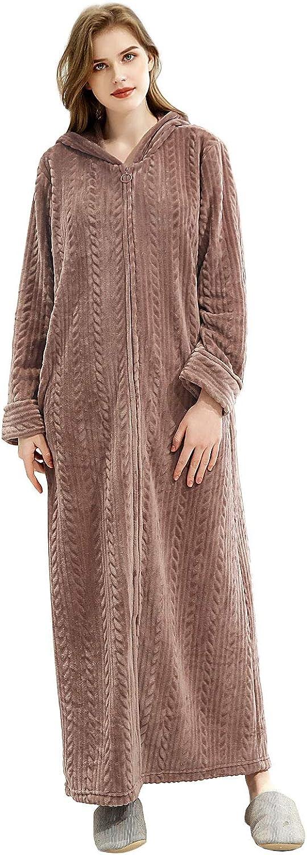 Soft Hooded Velvet Nightgown Thick Kimono Robes for Women Womens Fleece Bathrobe M, Gray Warm Robes House Coat