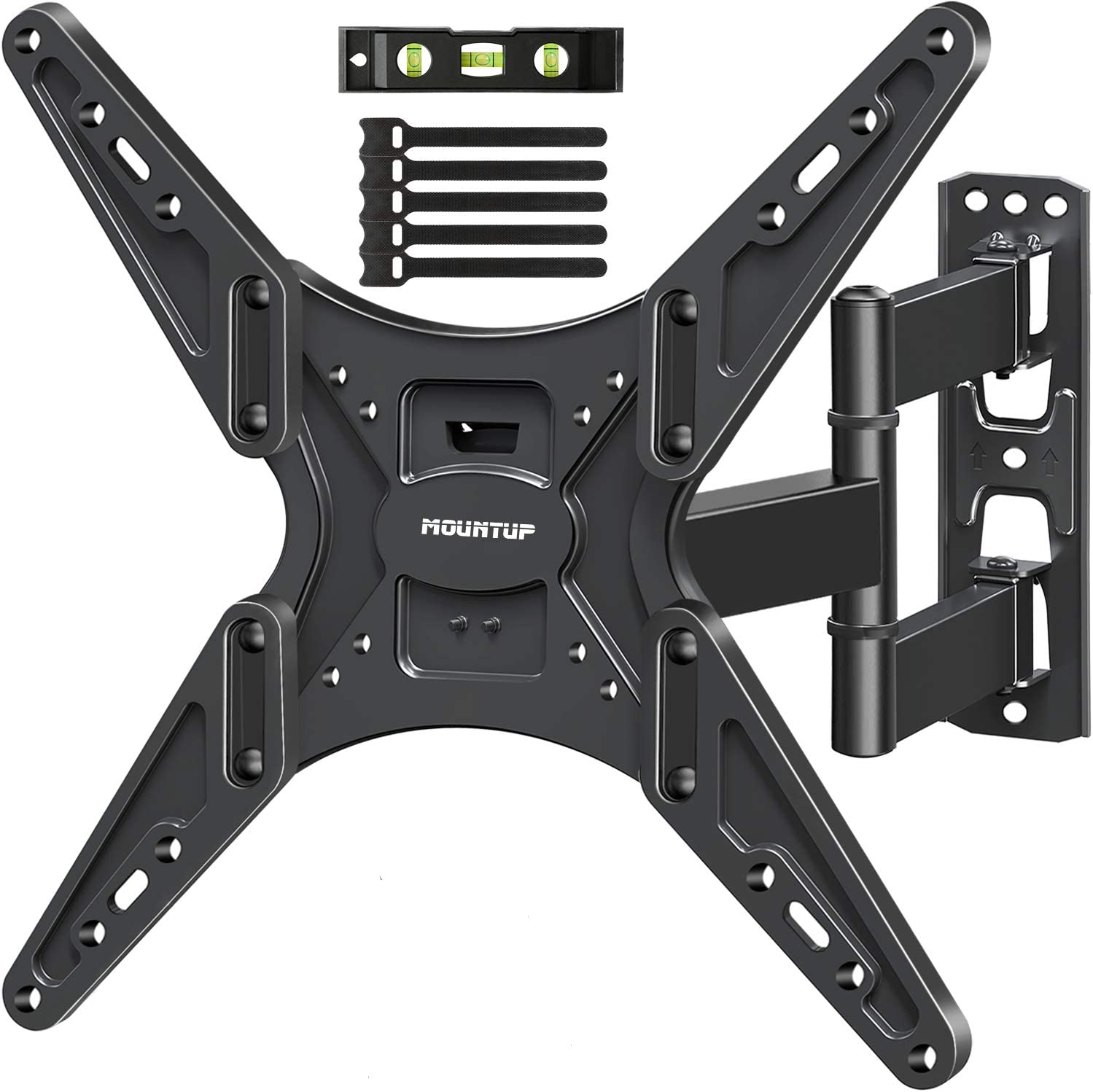 MOUNTUPTV Wall Mount, Full Motion Tilting TV Mount Bracketfor Most26-55 Inch Flat Curved TVs with Articulating Arms, Wall Mount TV Bracket with MaxVESA400X400mm and 88lbs, Fits Single Stud MU0014