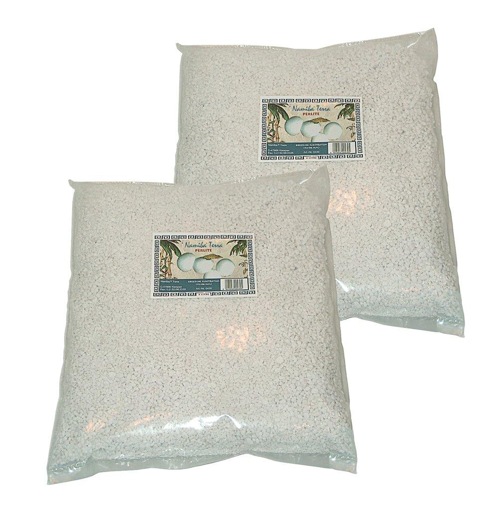 Namiba Terra 20430 Lot de 2 sacs de Perlite pour incubation des œufs de reptiles 02-06 mm 2 x 4 l