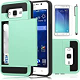 Galaxy Grand Prime Case, EC™ [Shockproof][Drop Protection] Hybrid Dual Layer Slim Wallet Case with Card Slot Holder Hard Shell Cover for Samsung Galaxy Grand Prime G530 (Turquoise)