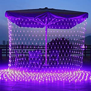 11.5ft x 5ft 360 LED Connectable LED Net Lights, 8 Modes Low Voltage Mesh Fairy String Lights, Christmas Net Lights for Garden, Bushes, Wedding, Outdoor Indoor, Xmas Tree Decorations (Purple)