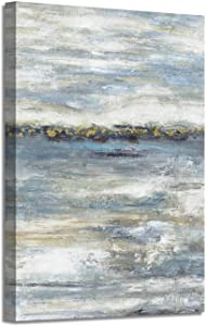 Abstract Wall Art Silver Painting: Modern Picture Artwork on Canvas for Wall Decor (36'' x 24'' x 1 Panel)
