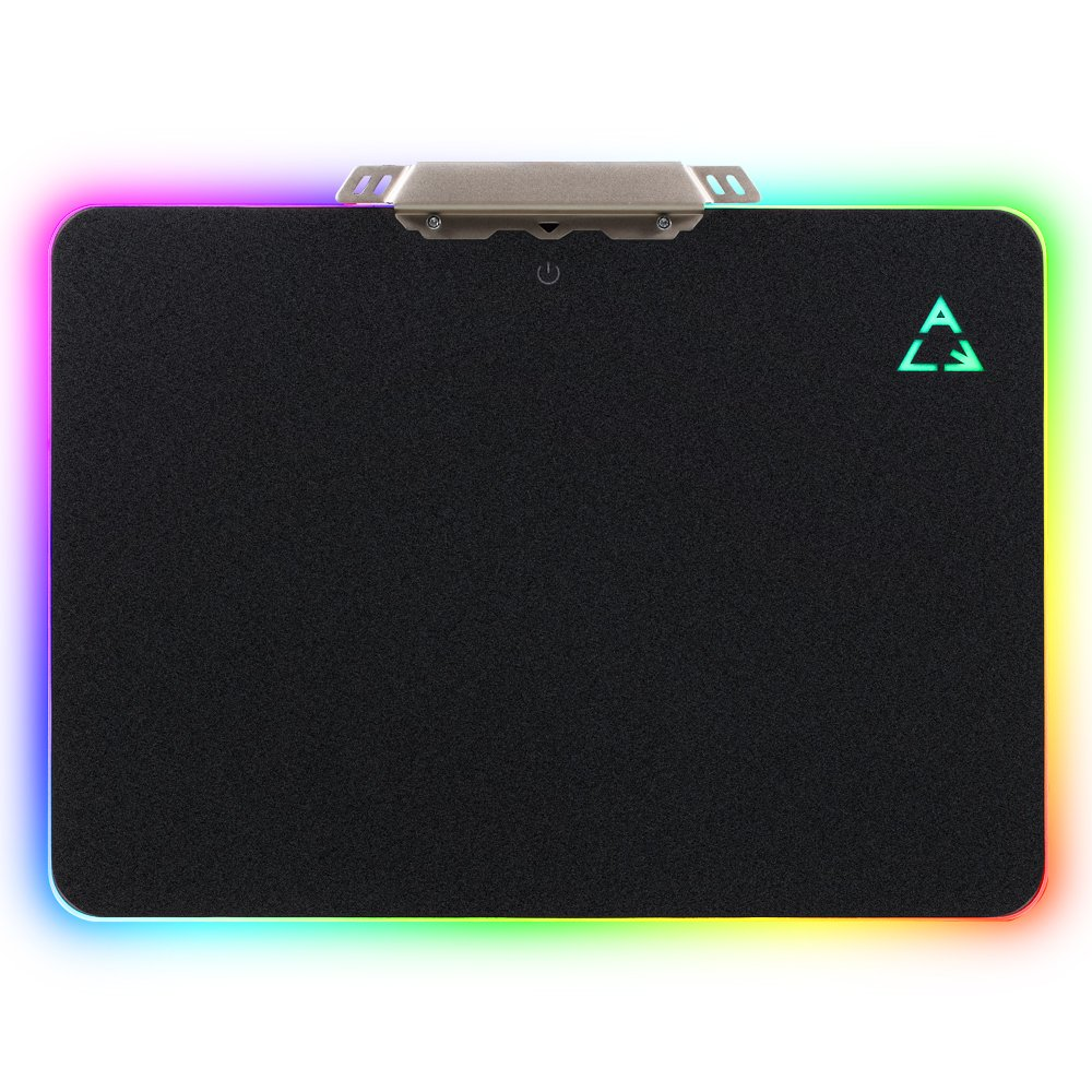 LED Lighting Hard Gaming Mouse Pad, RGB Colorful Computer Notebook Mac Mice Mat - Black
