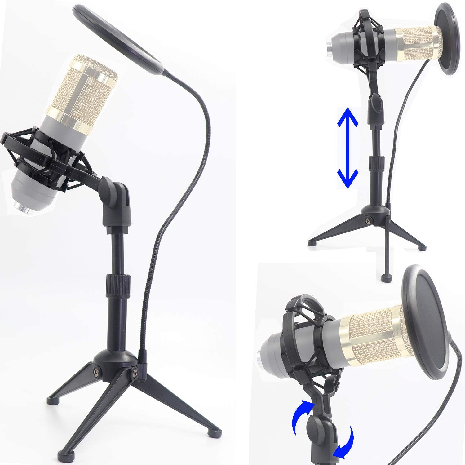 """Desktop Microphone Tripod Suspension Stand with Shock Mount Anti-Vibration Mic Holder and 4"""" Round Mask Shield Double-Net Wind Screen Pop Filter (Large, Black)"""