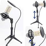 Soporte de suspensión para micrófono de computadora con soporte para micrófono antivibración y máscara redonda de 4 pulgadas