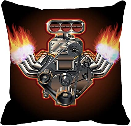 Awowee Throw Pillow Cover Car Cartoon Turbo Engine Hot Rod Flame Exhaust Race 16x16 Inches Pillowcase Home Decorative Square Pillow Case Cushion Cover Home Kitchen Amazon Com