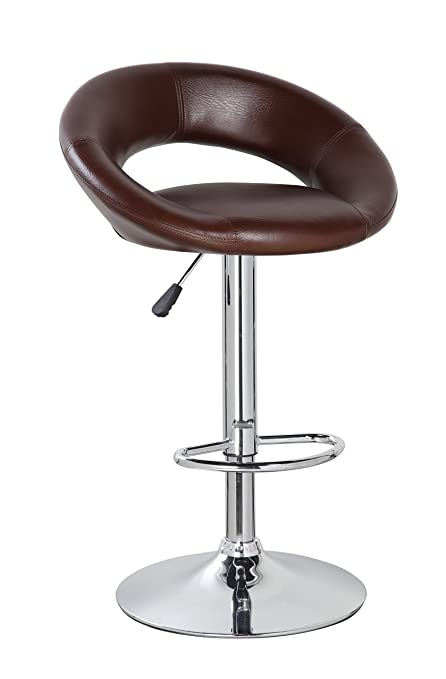 Phenomenal Amazon Com Cut Out Round Adjustable Height Bar Stool Mocha Onthecornerstone Fun Painted Chair Ideas Images Onthecornerstoneorg