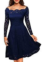 MissMay Women's Vintage Floral Lace Long Sleeve Boat Neck Cocktail Formal Swing Dress