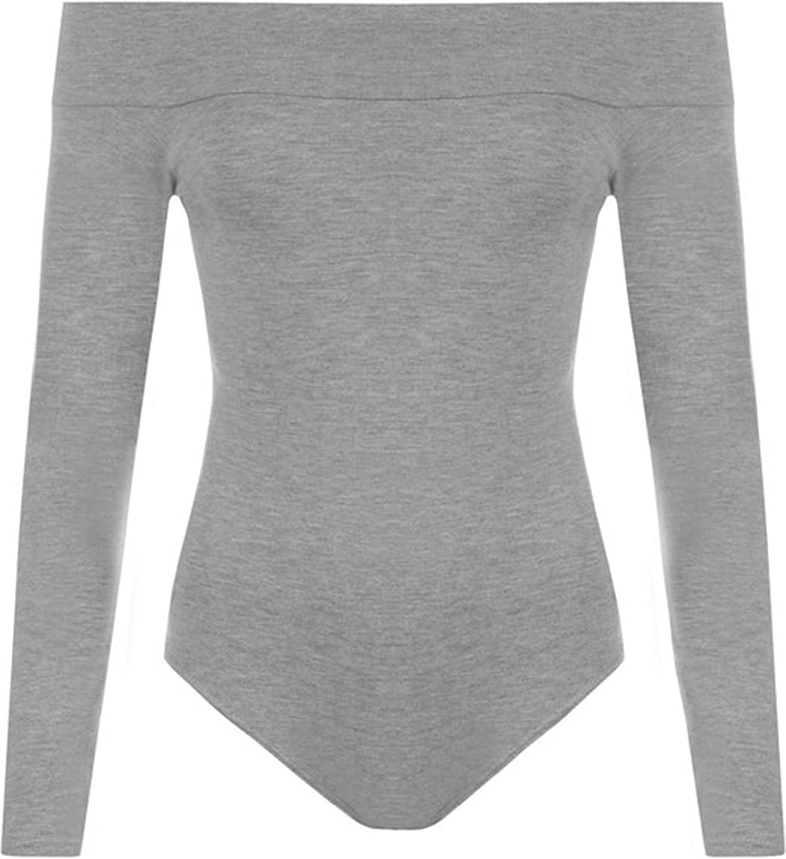 FashionClothing Damen Tiefebene Schulterfrei Langarm Trikot Top Bodysuit Body Leotard Top