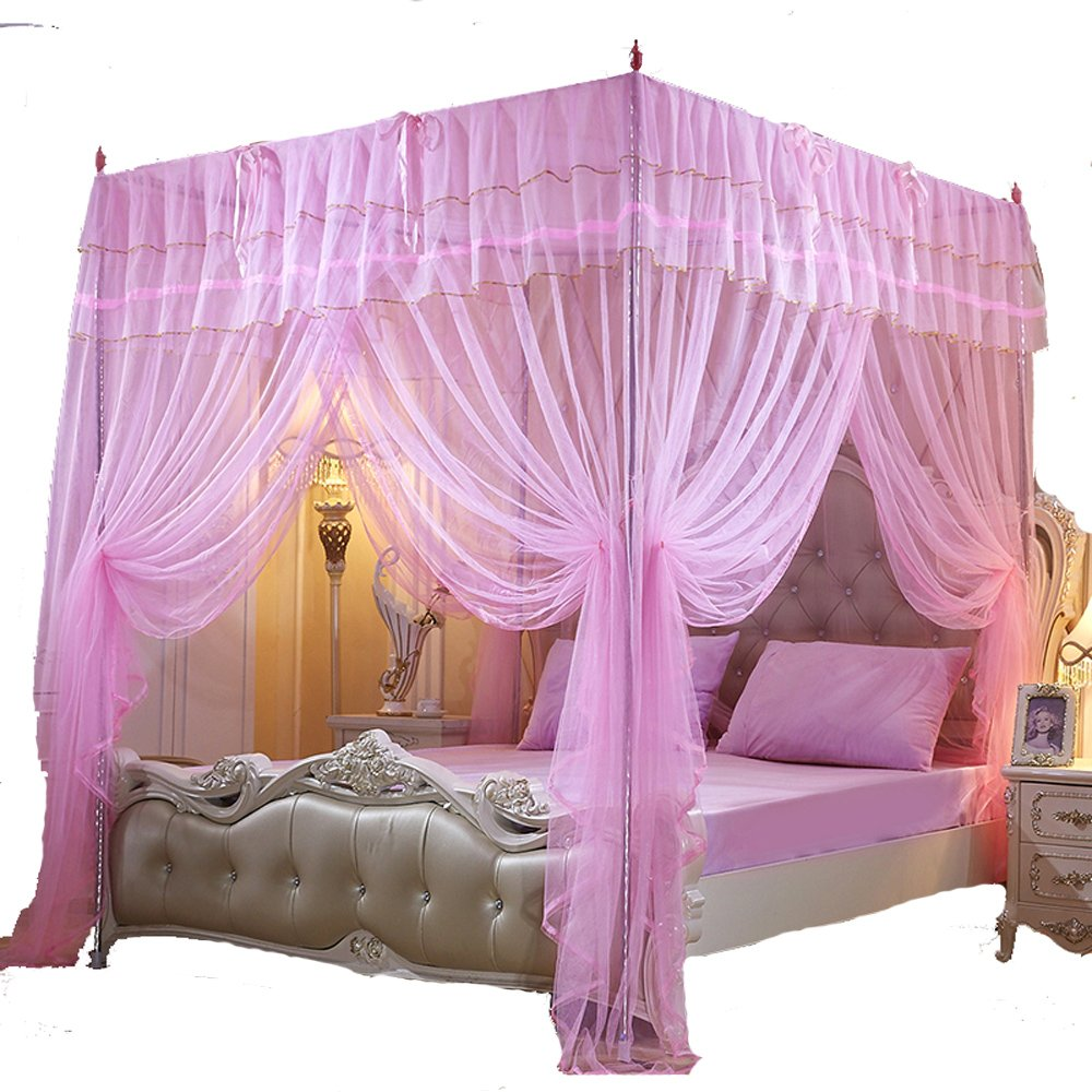 Mengersi 4 Corner Post Princess BedCurtain Canopy Mosquito Net For Girls Bed Canopies (Pink, Queen)