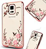 Galaxy S5 Case,Luxury Stylish Design Electroplated Slim Fit Lightweight Ultra Thin Metallic luster TPU Case Cover for Samsung Galaxy S5 SV I9600 - Flower Rose Gold