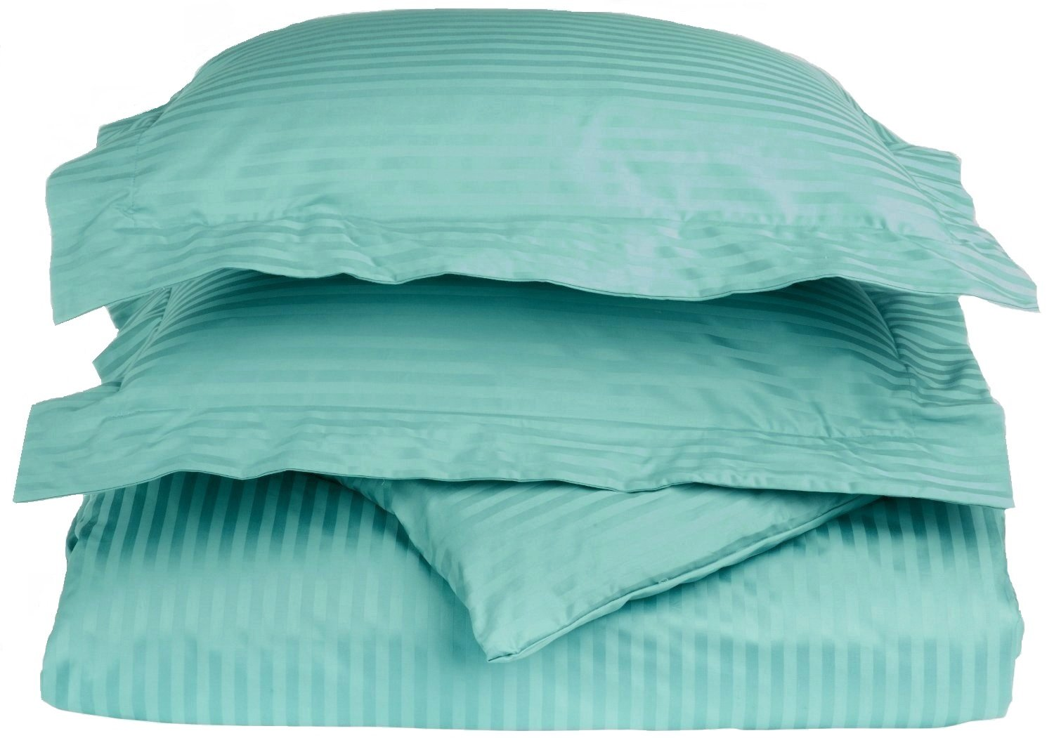 100% Egyptian Cotton 650 Thread Count King/California King 3-Piece Duvet Cover Set, Single Ply, Stripe, Teal