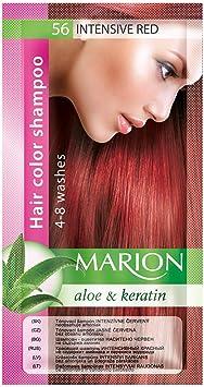 Marion. Champú de color para el cabello en bolsita, duración de 4 a 8 lavados, con áloe y queratina, color semipermanente