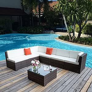 Ocio zona®, muebles de jardín de mimbre, conjunto de salón, sofá, polimimbre marrón, cojín fuerte, para exterior, patio, rincón de mimbre: Amazon.es: Jardín