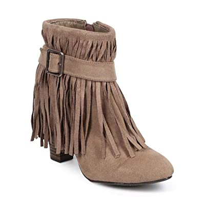 Qupid Women Suede Almond Toe Belted Fringe Ankle Bootie DB41 | Ankle & Bootie
